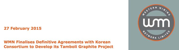Western Mining Network (ASX:WMN) finalised agreements with a Korean consortium to develop its Tamboli Graphite Project