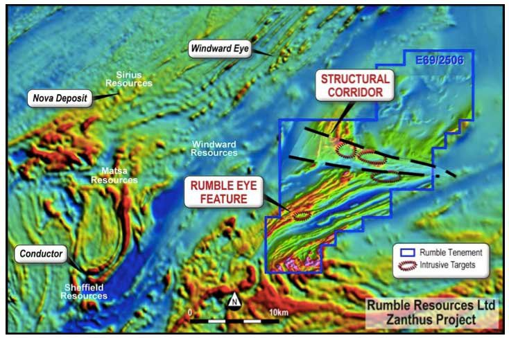 Blackham Resources (ASX:BLK) Zanthus Project, shared with Rumble Resources (ASX:RTR), in the Fraser Range
