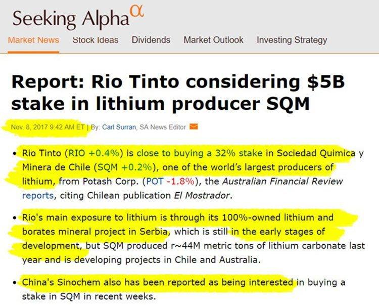 Rio tinto lithium producer