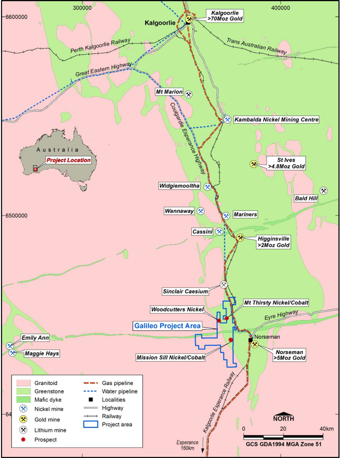 Norseman Project Location Map with Selection of Regional Mines and Infrastructure.