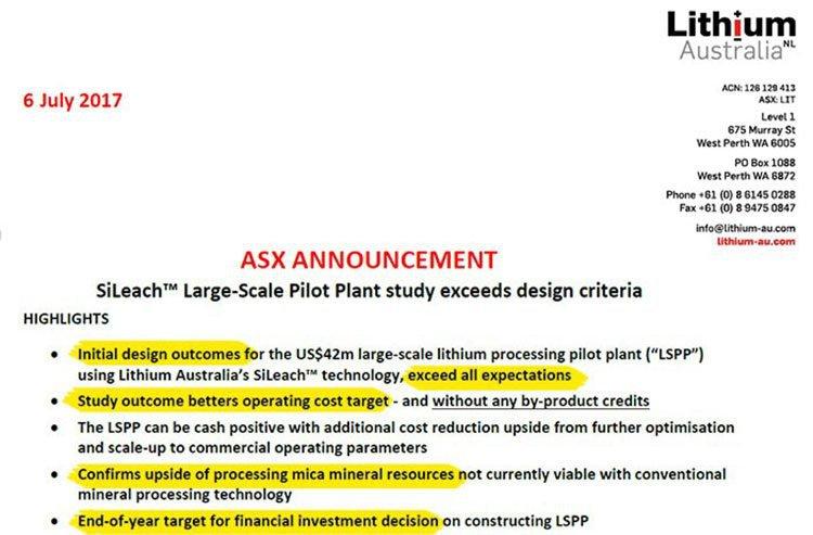 Lithium Australia ASX announcement