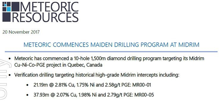 meteoric resources maiden drilling midrim