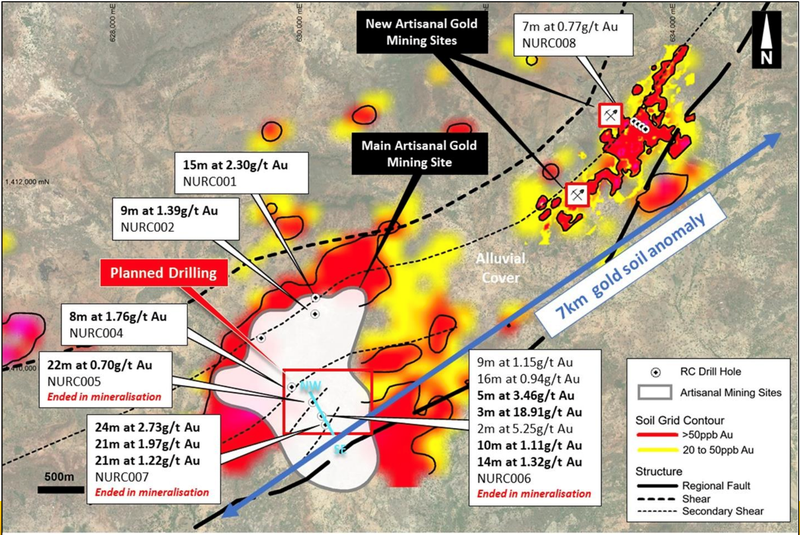 Significant previous drill results and priority planned drilling area (red rectangle)