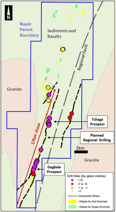 Napié Permit - Drill results along newly identified shear zones