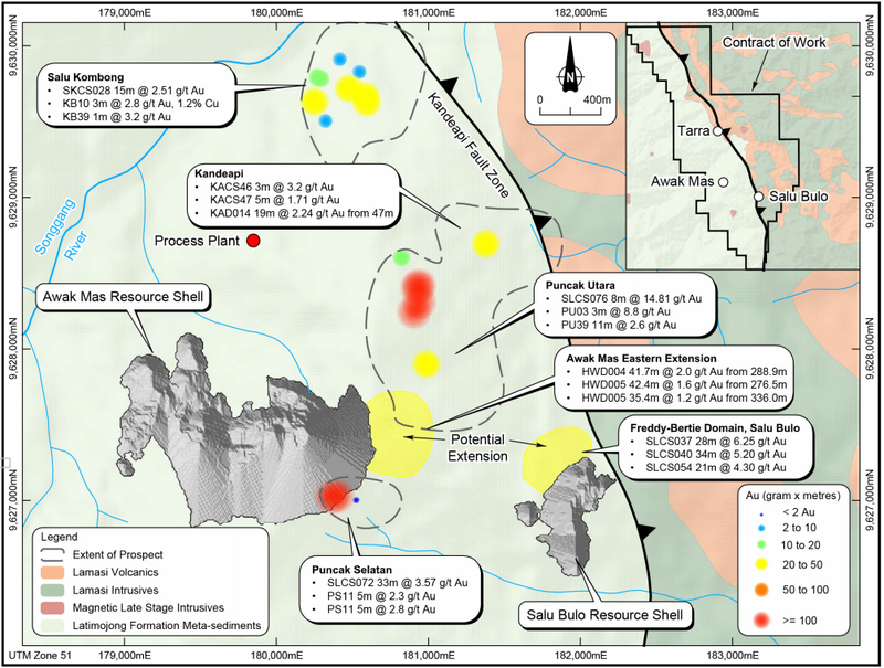 Mine prospects showing selected historic and recent results; and prospect locations identified as gram x metre anomalies