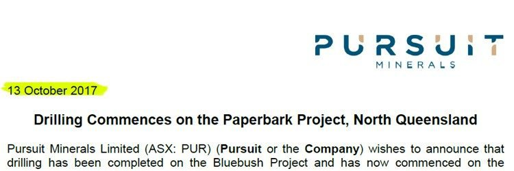 Pursuit minerals paperbark project