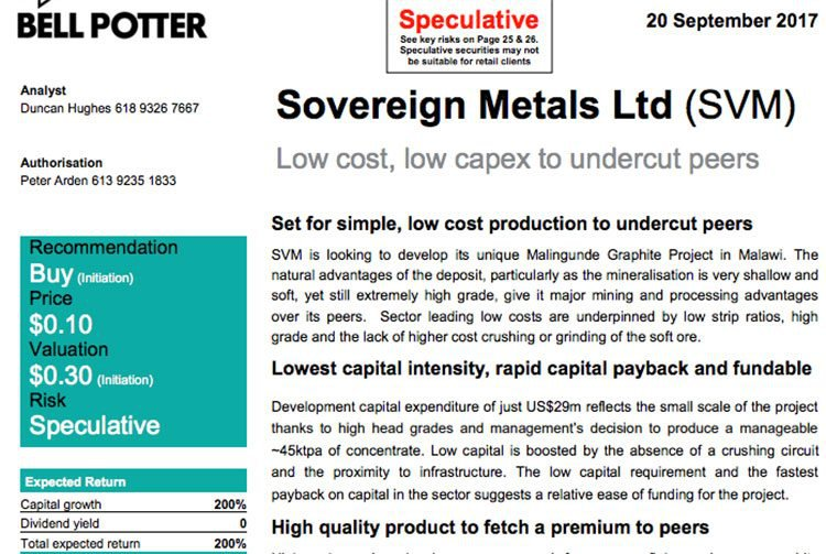 Sovereign metals bell potter