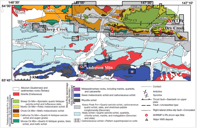 New expanded tenement outline for the Red Mountain Project on the geological map of the Bonnifield District
