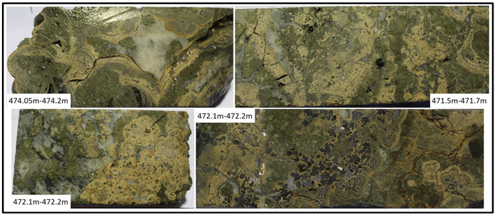 Spectacular colliform textures in massive sulphide mineralisation from 027. Tan is sphalerite, greenish is marcasite, and dark grey is galena. Note the abundant galena crystals in the bottom right photograph.