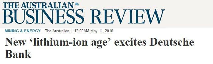 New Lithium-ion age excites Deutsche Bank