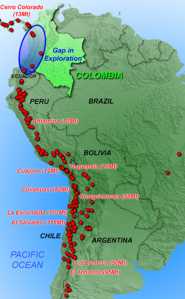 Gap in exploration in Colombia