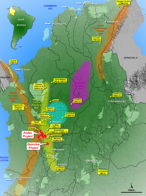Northern Colombia: Mineral Endowment & MNC's Andes and Quinchia Projects