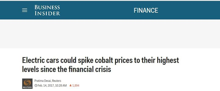 Rising cobalt price