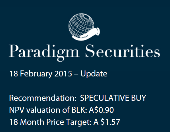 Paradigm Securities price target on Blackham Resources (ASX:BLK)